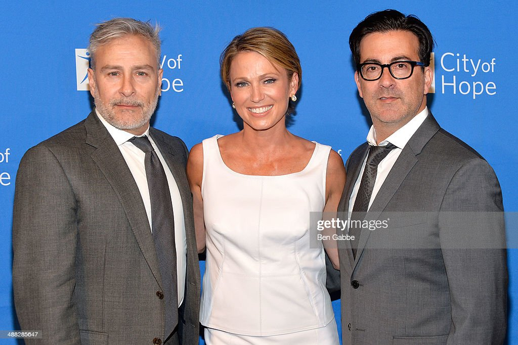 Designer Ken Kaufman journalist Amy Robach and designer Isaac Franco attend 2014 'Spirit Of Life' Awards Luncheon at The Plaza Hotel on May 5 2014 in...