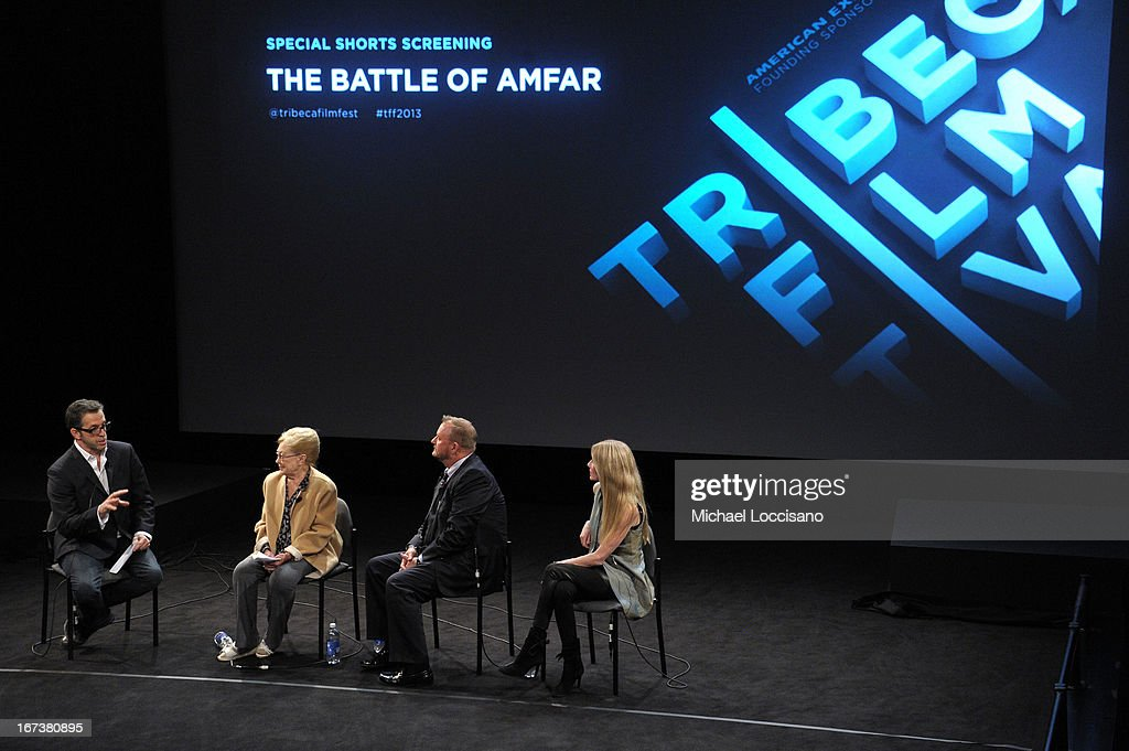 Designer Kenneth Cole, amfAR Founding Chairman Dr. Mathilde Krim, amfAR CEO Kevin Robert Frost and Regan Hofmann speak on stage at HBO's 'The Battle of amfAR' premiere at Tribeca Film Festival on April 24, 2013 in New York City.