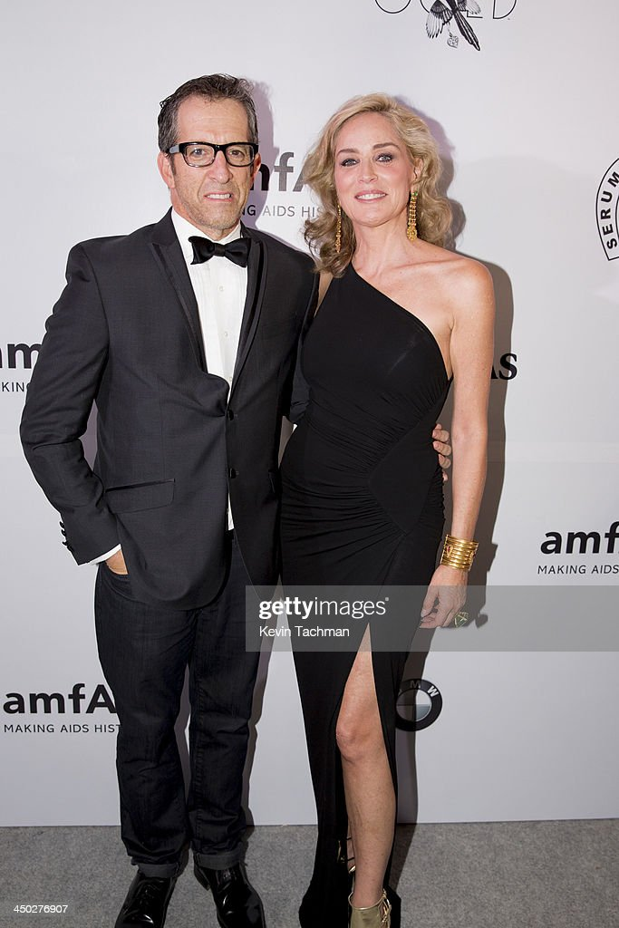 Designer Kenneth Cole and actress <a gi-track='captionPersonalityLinkClicked' href=/galleries/search?phrase=Sharon+Stone&family=editorial&specificpeople=156409 ng-click='$event.stopPropagation()'>Sharon Stone</a> attend the inaugural amfAR India event at the Taj Mahal Palace Mumbai on November 17, 2013 in Mumbai, India.