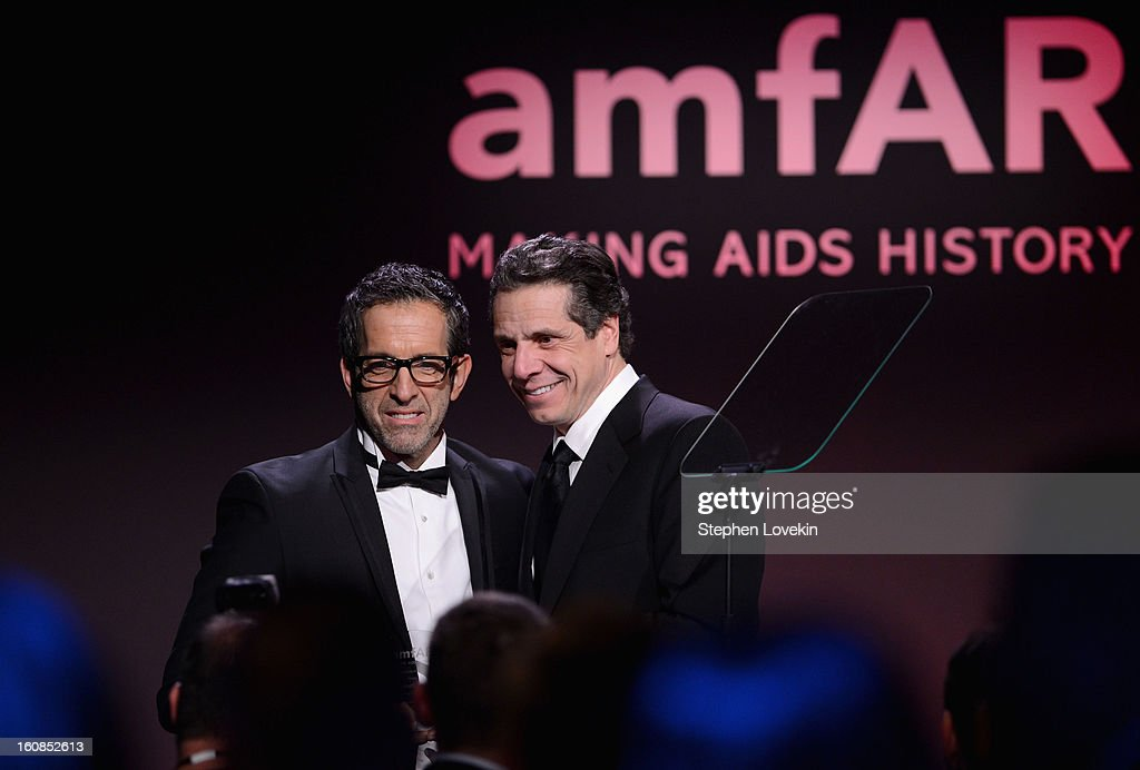 Designer Kenneth Cole and New York governer Andrew Cuomo attend the amfAR New York Gala to kick off Fall 2013 Fashion Week at Cipriani Wall Street on February 6, 2013 in New York City.