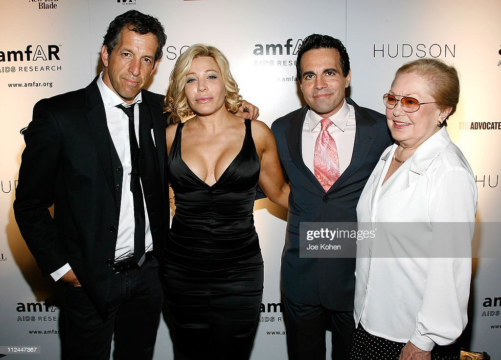 Designer Kenneth Cole singer Taylor Dayne actor Mario Cantone and Dr Mathilde Krim attend the 9th Annual amfAR Honoring With Pride Celebration at the...