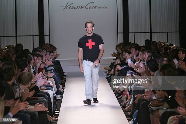 Designer Kenneth Cole walks the runway wearing a Red Cross tshirt at the Kenneth Cole Spring 2006 fashion show during Olympus Fashion Week at Bryant...