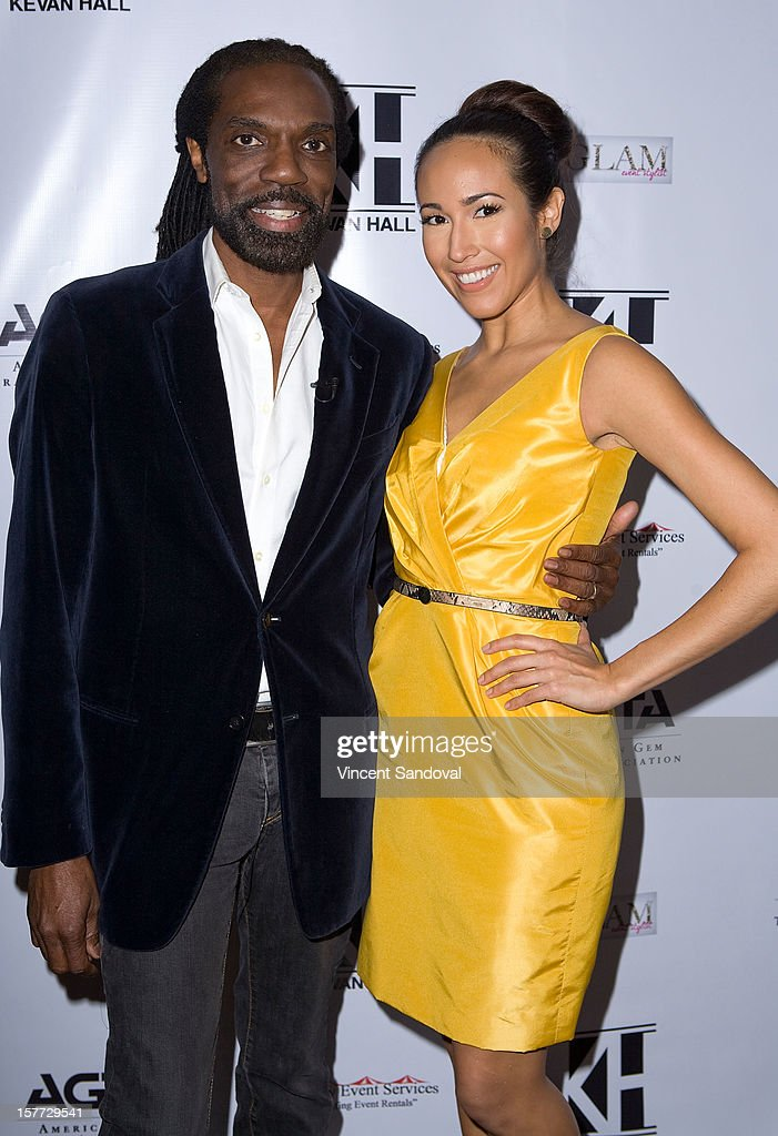 Designer Kevan Hall and actress Marissa Quinn attend fashion designer Kevan Hall's Spring 2013 Collection on December 5, 2012 in Los Angeles, California.