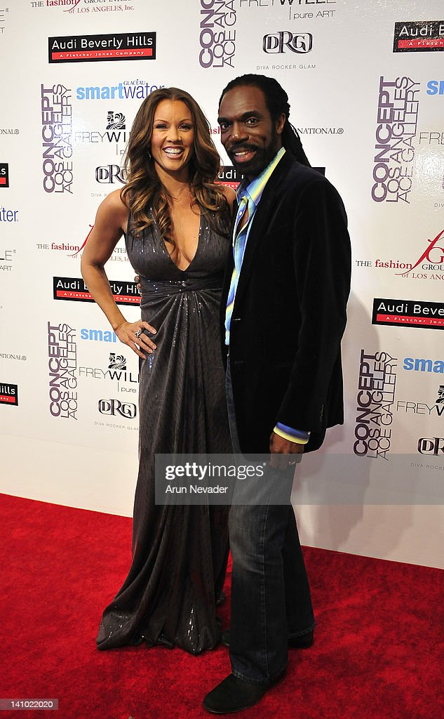 Designer Kevan Hall (R) with muse and actor Vanessa Williams (L) appear together on the red carpet at 'Meet The Designer and the Muse' at Ace Gallery on March 8, 2012 in Los Angeles, California.