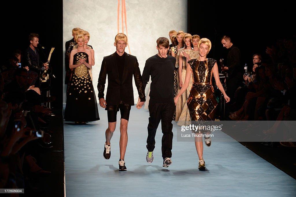 Designer Kilian Kerner (C) an his models at the end of the Kilian Kerner show during Mercedes-Benz Fashion Week Spring/Summer 2014 at Brandenburg Gate on July 2, 2013 in Berlin, Germany.