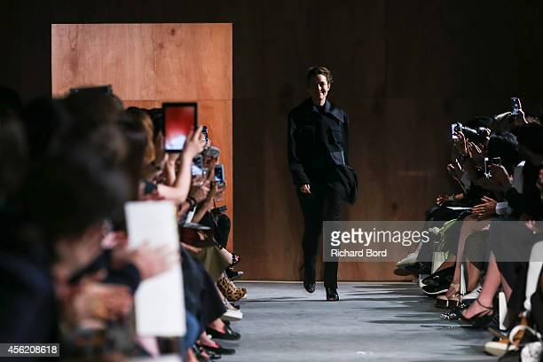 Designer Kim Ellery acknowledges the audience after her show as part of the Paris Fashion Week Womenswear Spring/Summer 2015 on September 27 2014 at...