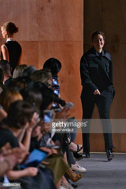 Designer Kim Ellery walks the runway during the Ellery Ready to Wear show as part of the Paris Fashion Week Womenswear Spring/Summer 2015 on...