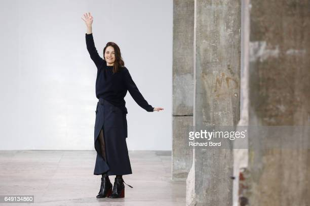 Designer Kim Ellery walks the runway during the Ellery show at Palais de Tokyo during Paris Fashion Week Womenswear Fall/Winter 2017/2018 on March 7...