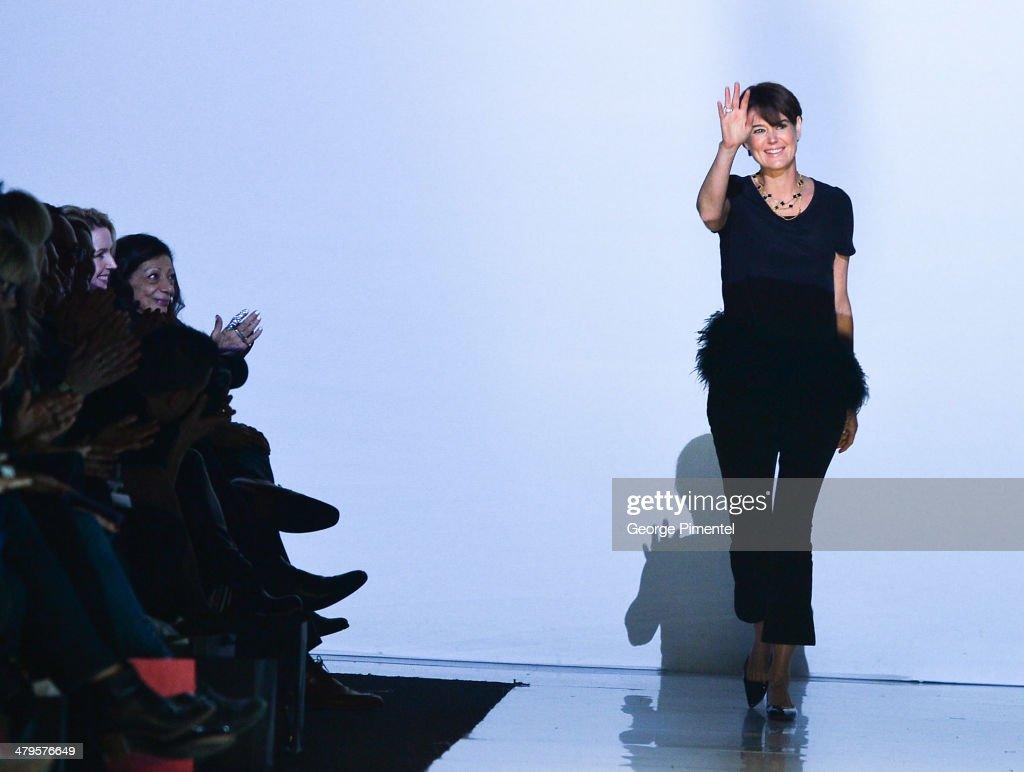 Designer Kimberley Newport-Mimran presents Pink Tartan fall 2014 collection during World MasterCard Fashion Week Fall 2014 at David Pecaut Square on March 19, 2014 in Toronto, Canada.