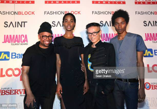 Designer Kirk Pickersgill model Tami Williams Stephen Wong of Greta Constantine and model Jonny Brown pose during the opening reception of StyleWeek...