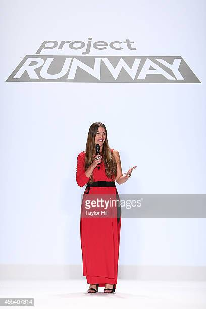 Designer Korina Emmerich presents her collection during the Project Runway Season 13 Finale Show at MercedesBenz Fashion Week Spring 2015 at The...