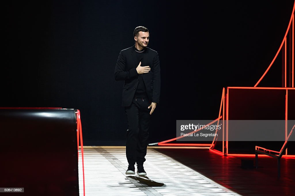 Designer <a gi-track='captionPersonalityLinkClicked' href=/galleries/search?phrase=Kris+Van+Assche+-+Fashion+Designer&family=editorial&specificpeople=5744788 ng-click='$event.stopPropagation()'>Kris Van Assche</a> walks the runway during the Dior Homme Menswear Fall/Winter 2016-2017 show as part of Paris Fashion Week on January 23, 2016 in Paris, France.