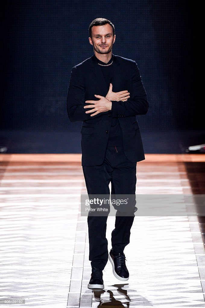 Designer Kris van Assche walks the runway during the Dior Homme Menswear Fall/Winter 2016-2017 show as part of Paris Fashion Week on January 23, 2016 in Paris, France.