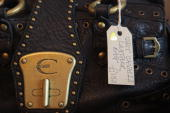 A designer label is shown on display in Rag Trade Boutique a quality designer secondhand women's clothes shop on February 20 2009 in Bristol...