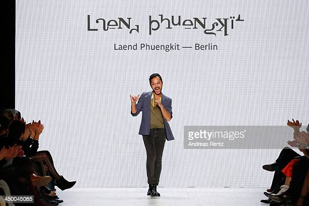 Designer Laend Phungkit on the runway after the Laend Phungkit show during MercedesBenz Fashion Days Zurich 2013 on November 16 2013 in Zurich...
