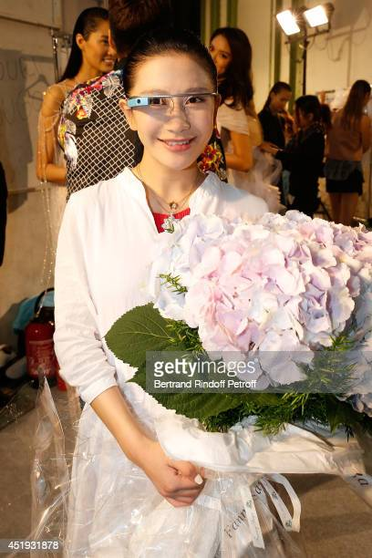 Designer Lan Yu at her show as part of Paris Fashion Week Haute Couture Fall/Winter 20142015 at the Grand Palais on July 9 2014 in Paris France