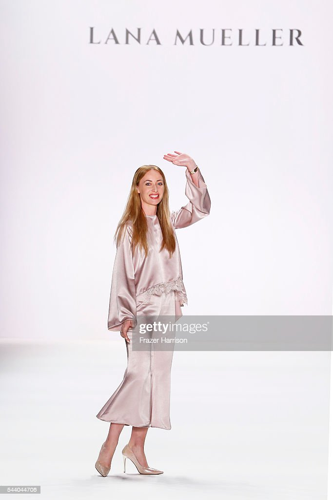 Designer Lana Mueller acknowledges the applause of the audience at the Lana Mueller show during the Mercedes-Benz Fashion Week Berlin Spring/Summer 2017 at Erika Hess Eisstadion on July 1, 2016 in Berlin, Germany.