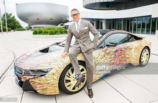Designer Lapo Elkann poses during the presentation of the BMW i8 Futurism Edition on June 8 2016 in Munich Germany