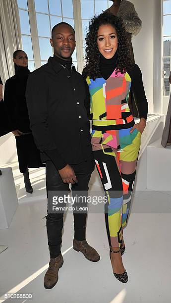 Designer Laquan Smith and Simone Boyce attend the Laquan Smith Presentation at Jack Studios during Fall 2016 New York Fashion Week on February 14...