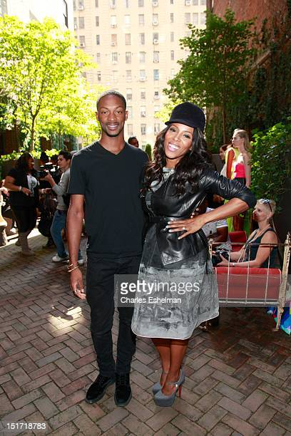 Designer Laquan Smith ans stylist June Ambrose attend the Laquan Smith Spring 2013 presentation at the Hudson Hotel on September 10 2012 in New York...