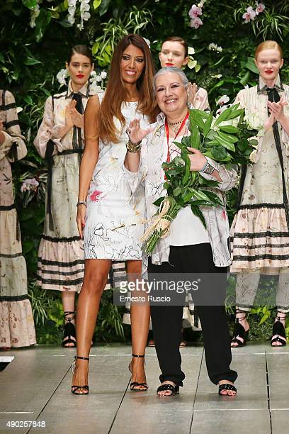 Designer Laura Biagiotti is seen on the runway during the Laura Biagiotti fashion show as part of Milan Fashion Week Spring/Summer 2016 on September...