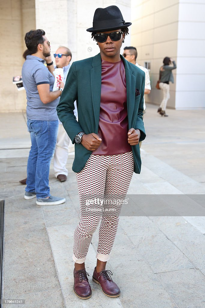 Designer Lauren Singletary is seen wearing a ZARA jacket, Lauren Hailey shirt, Uniqlo pants and H&M shoes on the streets of Manhattan on September 5, 2013 in New York City.