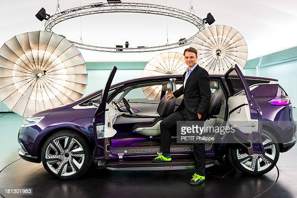 Designer Laurens Van Den Acker and his new concept car Initiale Paris is presented during a Frankfurt motor show on August 28 2013 in FrankfurtGermany