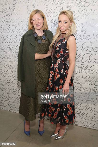 Designer Lela Rose and actress Portia Doubleday pose backstage at the Lela Rose Fall 2016 fashion show during New York Fashion Week The Shows at The...
