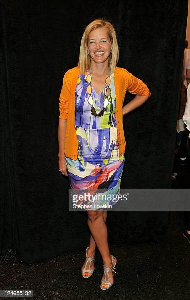 Designer Lela Rose poses backstage at the Lela Rose Spring 2012 fashion show during MercedesBenz Fashion Week at The Studio at Lincoln Center on...