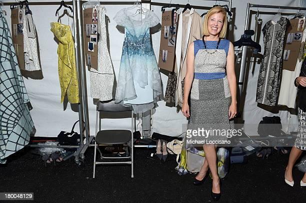 Designer Lela Rose poses backstage at theLela Rose fashion show during MercedesBenz Fashion Week Spring 2014 at The Studio at Lincoln Center on...