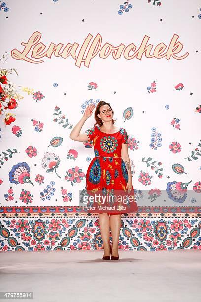Designer Lena Hoschek is seen on the runway at the Lena Hoschek show during the MercedesBenz Fashion Week Berlin Spring/Summer 2016 at Brandenburg...