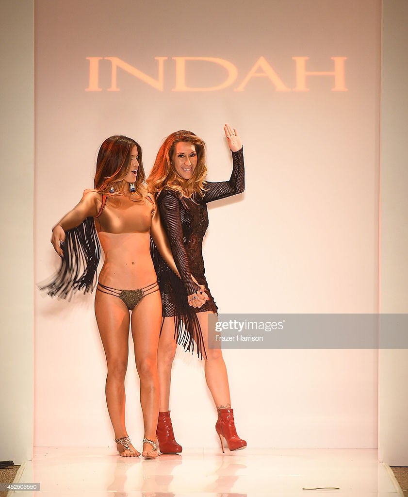 Designer Libby De Santis walks the runway during Indah show at Mercedes-Benz Fashion Week Swim 2015 at Cabana Grande at the Raleigh on July 21, 2014 in Miami, Florida.