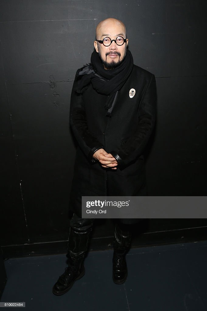 Designer, Lie Sang Bong, poses backstage at the LIE SANGBONG Fall-Winter 2016 Collection Show at Pier 59 on February 13, 2016 in New York, New York.