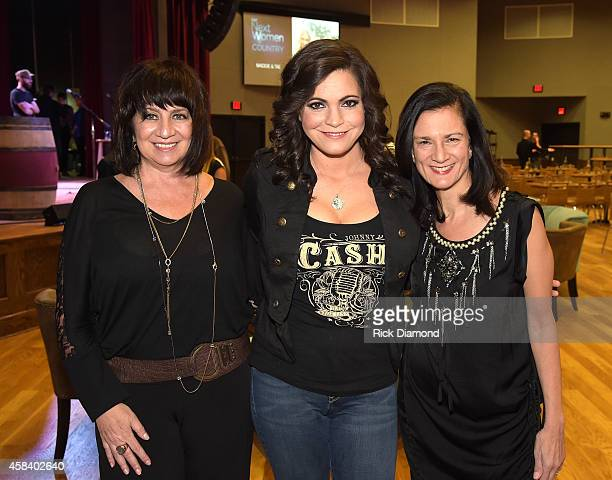 Designer Lisa George Angaleena Presley and CMT SVP Music Strategy Leslie Fram attend the CMT Next Women Of Country at City Winery Nashville on...