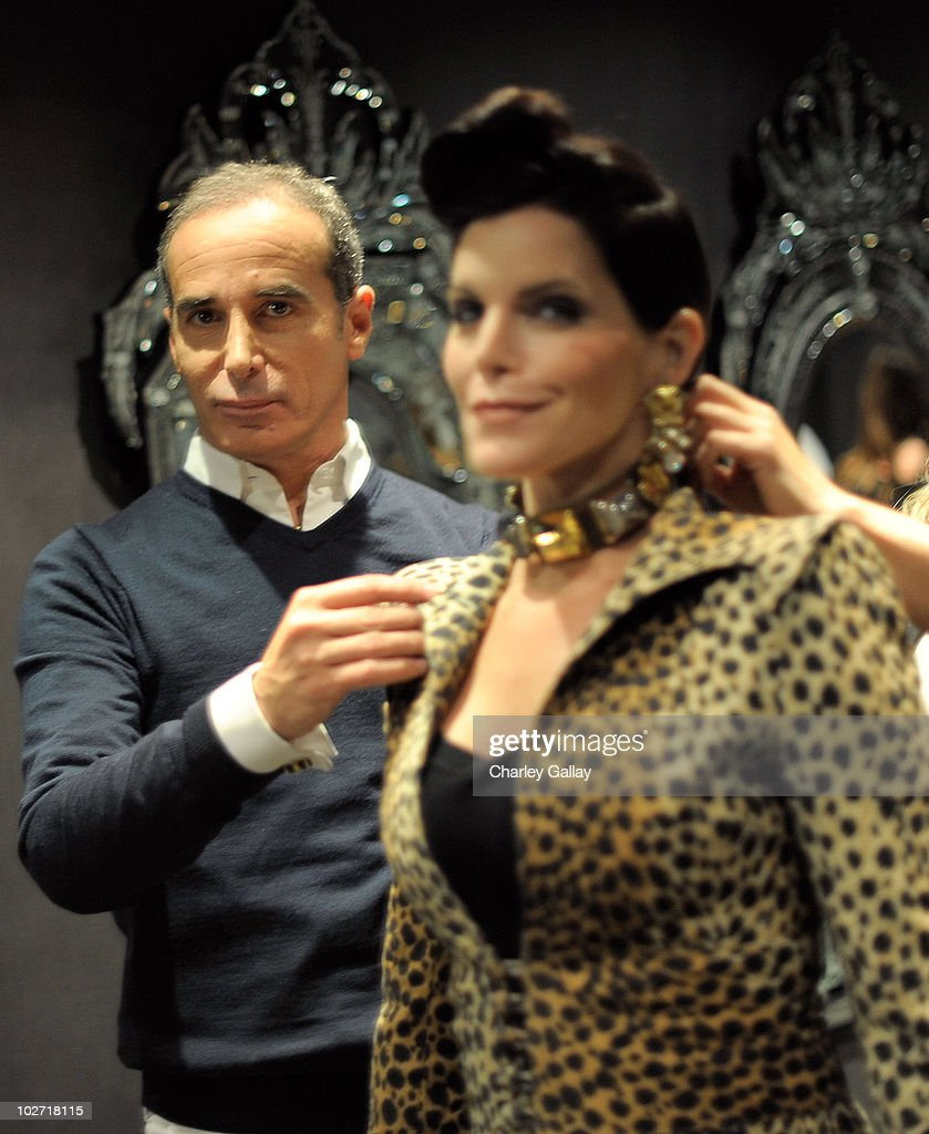 Designer Lloyd Klein and actress Lesli Kay are seen during a photoshoot for designer Lloyd Klein's new motorcycle couture line at Lloyd Klein on July 8, 2010 in Los Angeles, California.