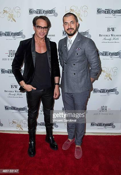 Designer Lloyd Klein and Jason Arasheben attend Jason Of Beverly Hills' PreGRAMMY cocktail hour and salute to fashion icon David Thomas' Gentleman...