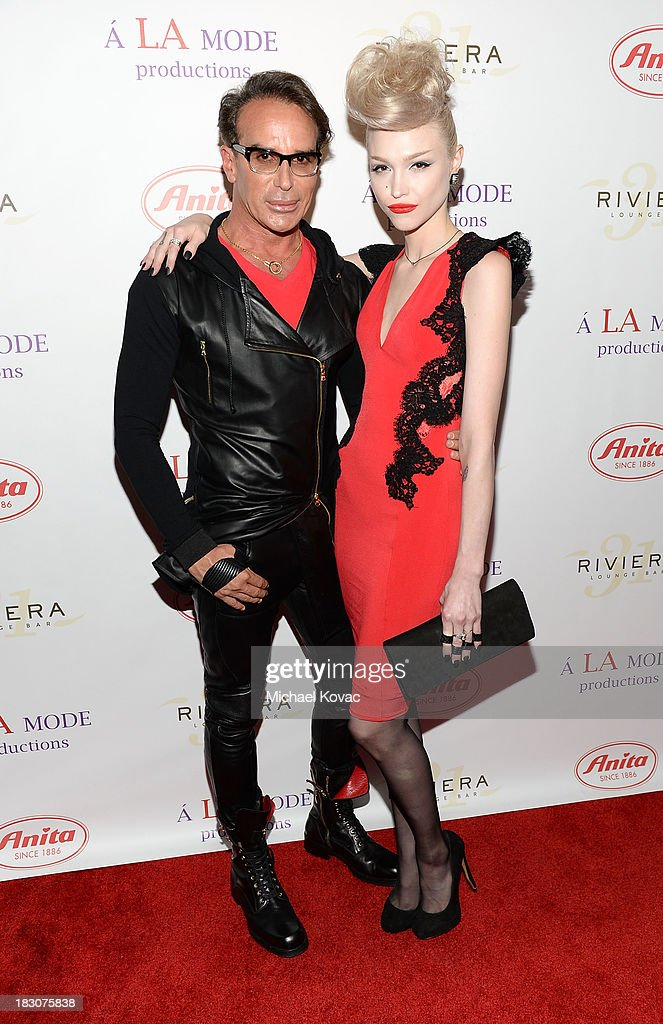 Designer Lloyd Klein and recording artist Ivy Levan arrive for A la mode Productions Presents Designers Night Out at Sofitel Hotel on October 3, 2013 in Los Angeles, California.