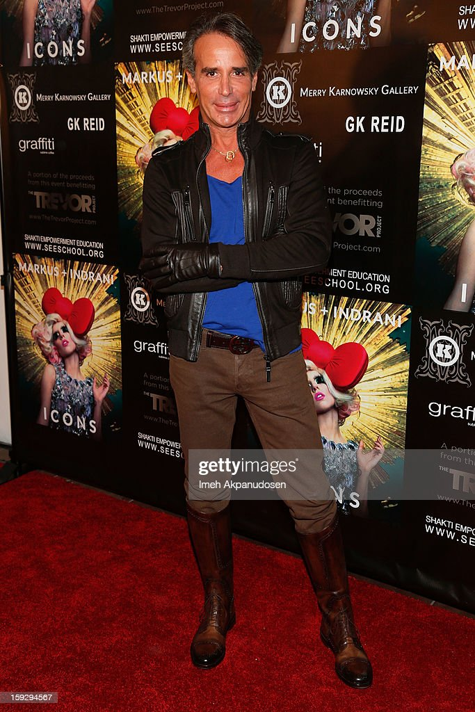 Designer Lloyd Klein attends the Markus + Indrani ICONS Book Launch Party at Merry Karnowsky Gallery on January 10, 2013 in Los Angeles, California.