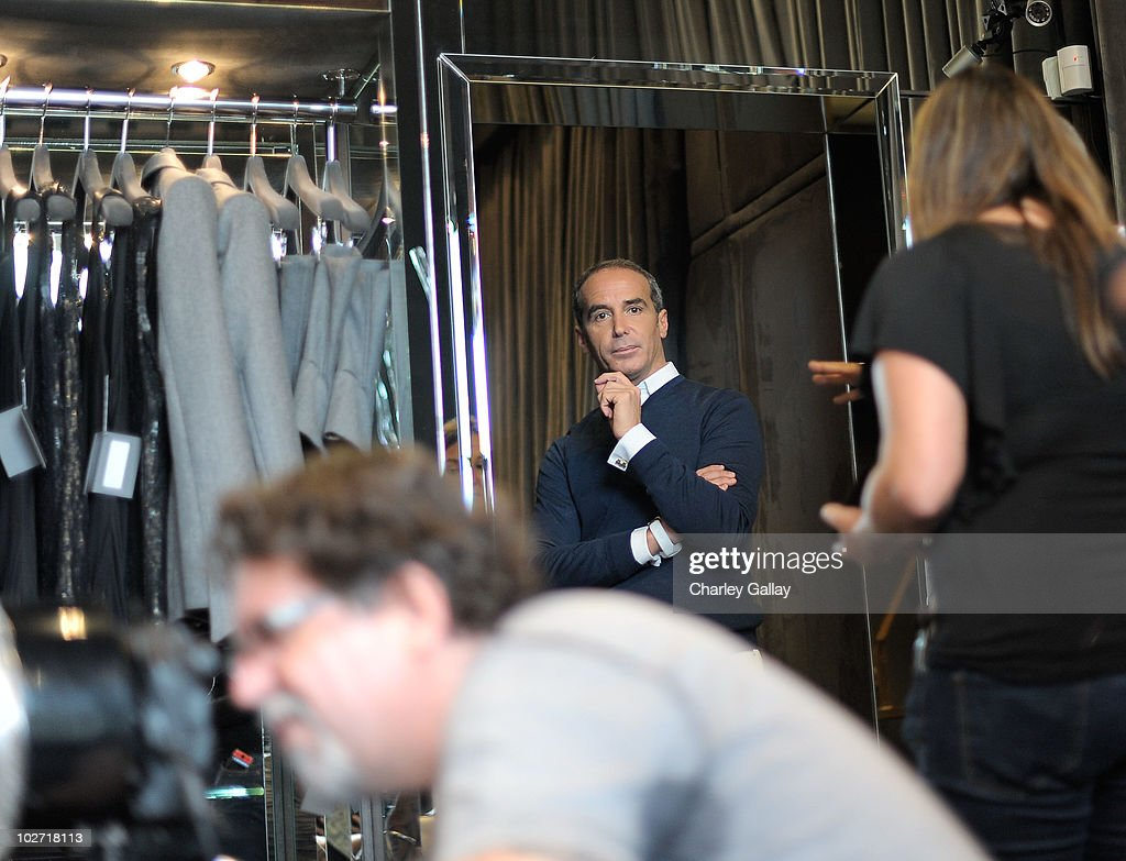 Designer Lloyd Klein is seen during a photoshoot for his motorcycle couture line at Lloyd Klein on July 8, 2010 in Los Angeles, California.