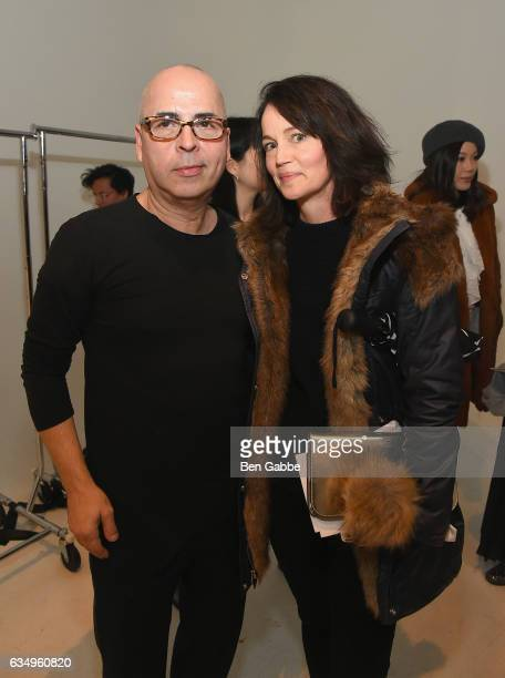 Designer Louis Verdad and Leslie Yazel pose backstage at the Verdad fashion show during New York Fashion Week at Pier 59 on February 12 2017 in New...