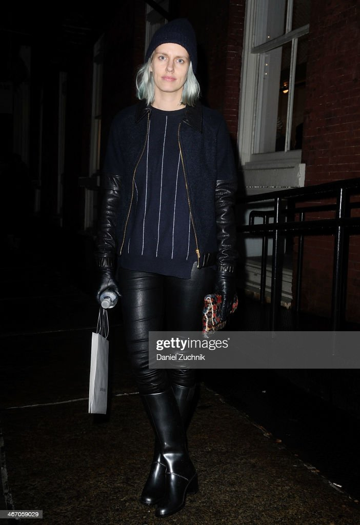 Designer Lyndsey Butler is seen outside the Pas de Calais show wearing a Stella McCartney sweater with Veda jacket and pants on February 5, 2014 in New York City.