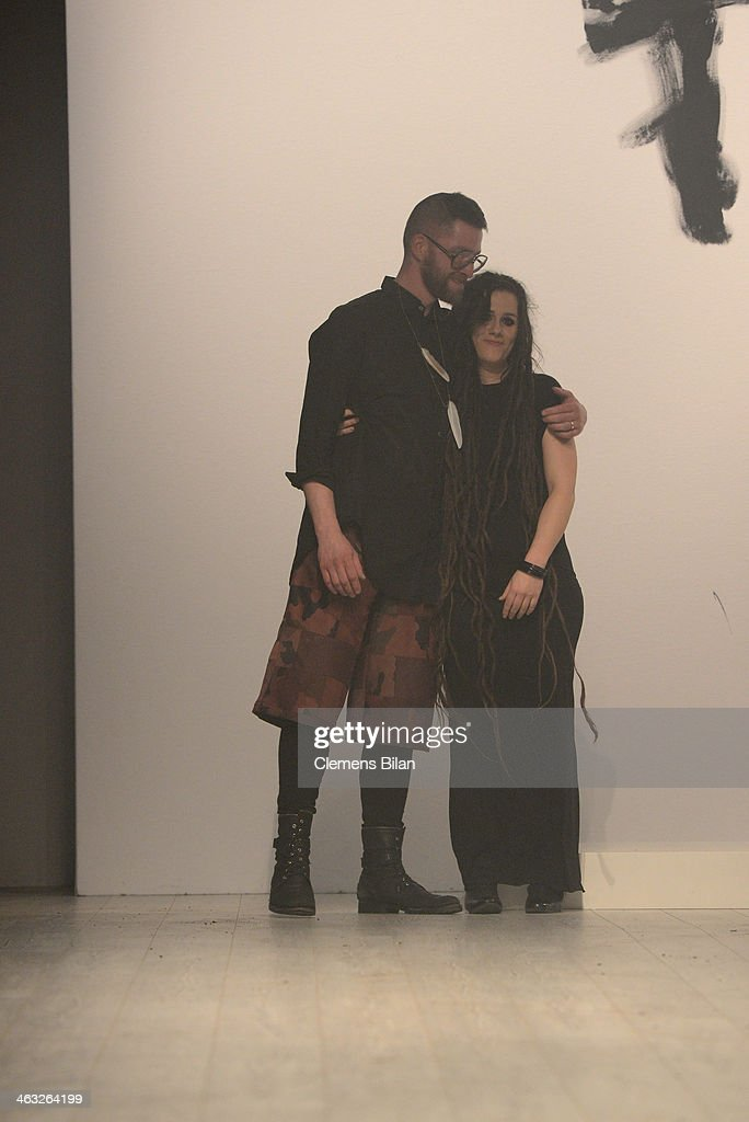Designer Mads Dinesen (L) poses at the Mads Dinesen show during Mercedes-Benz Fashion Week Autumn/Winter 2014/15 at Brandenburg Gate on January 17, 2014 in Berlin, Germany.