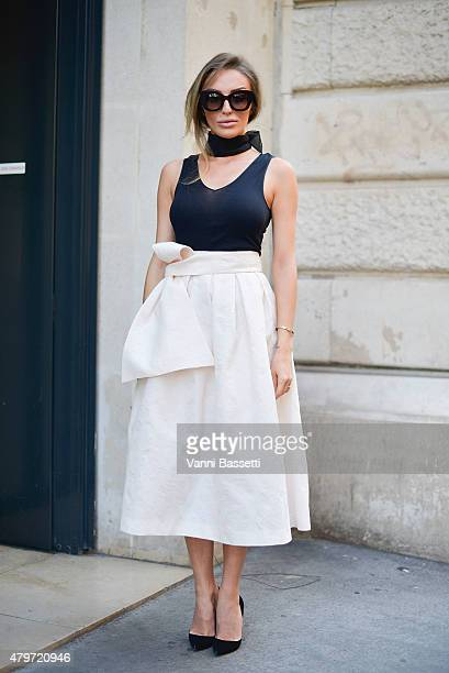 Designer Magdalena Knitter poses wearing a Magdalena Knitter skirt before the Ralph and Russo show at Rue Cambon on July 6 2015 in Paris France