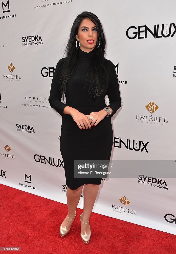 Designer Mahtab Mojab arrives to Genlux Magazine's Issue Release party featuring Erika Christensen at The Sofitel Hotel on August 29, 2013 in Los Angeles, California.