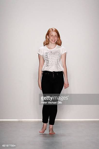 Designer Malaika Raiss appears on the runway after the Malaikaraiss show during the MercedesBenz Fashion Week Spring/Summer 2015 at Erika Hess...