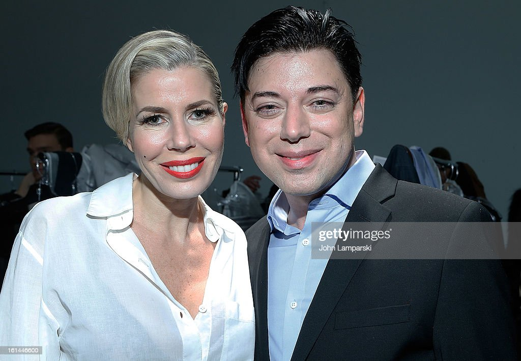 Designer Malan Breton and Aviva Drescher attend the Malan Breton during Fall 2013 Mercedes-Benz Fashion Week at Pier 59 Studios on February 10, 2013 in New York City.