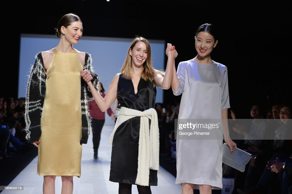 Designer Malorie Urbanovitch, winner of the Mercedes-Benz Start-Up national final, walks the rujnway during World MasterCard Fashion Week Spring 2014 at David Pecaut Square on October 22, 2013 in Toronto, Canada.