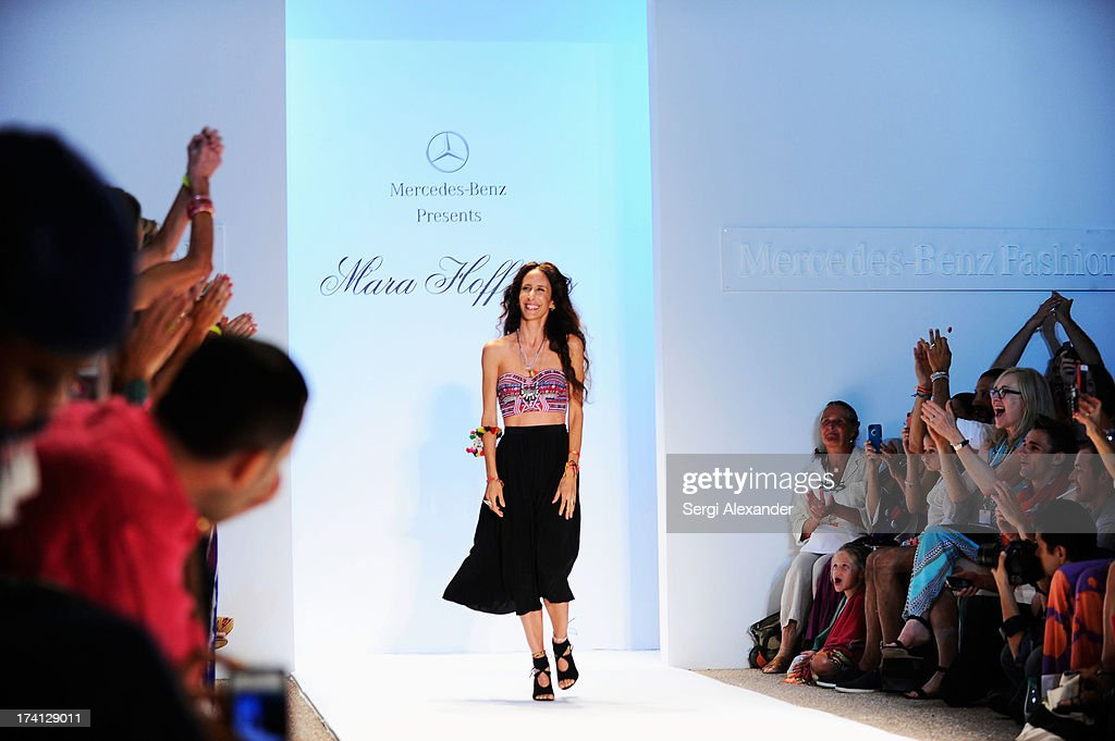 Designer Mara Hoffman walks the runway at the Mara Hoffman Swim show during Mercedes-Benz Fashion Week Swim 2014 at Cabana Grande at the Raleigh on July 20, 2013 in Miami, Florida.