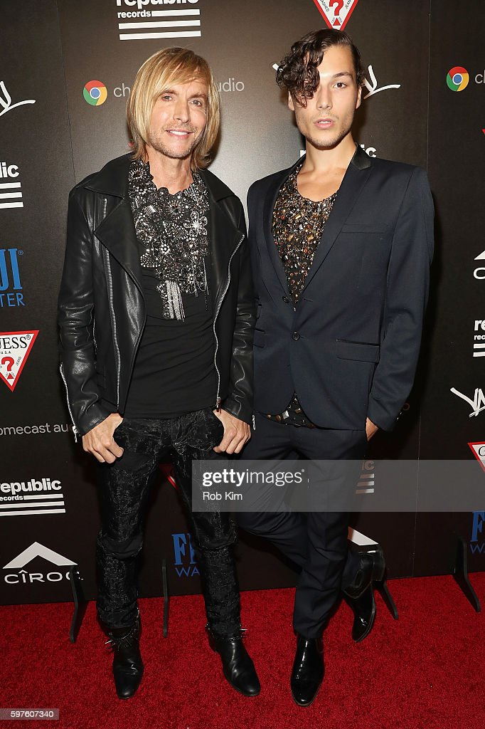 Designer Marc Bouwer and guest attend a celebration with Republic Records and Guess after the 2016 MTV Video Music Awards at Vandal with cocktails by...