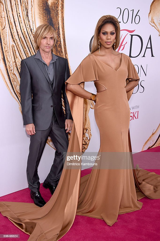 Designer Marc Bouwer and Laverne Cox attends the 2016 CFDA Fashion Awards at the Hammerstein Ballroom on June 6 2016 in New York City